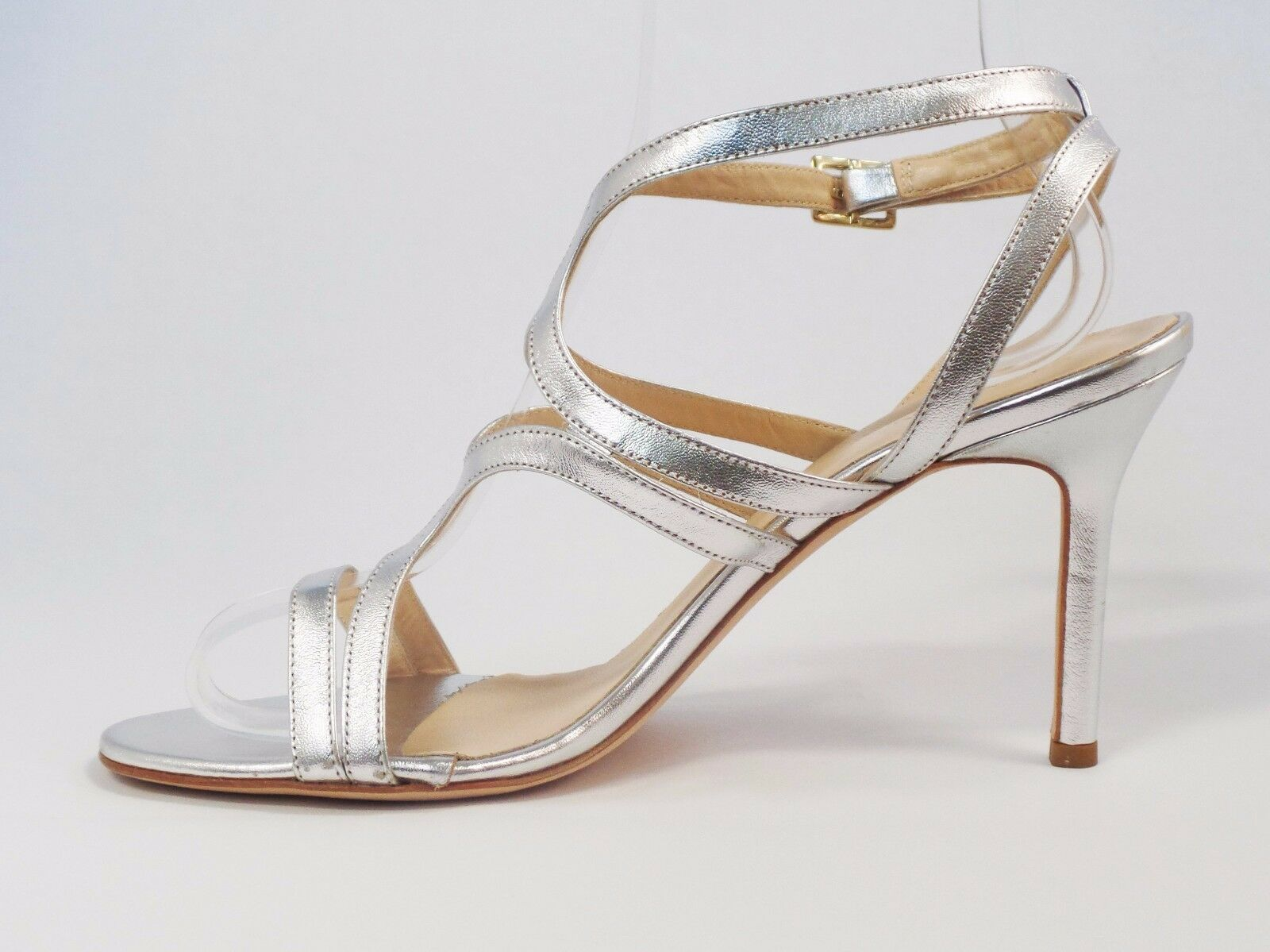 NWB ST JOHN Silber EMILY SANDALS NAPPA LEATHER HEELS 9.5 M