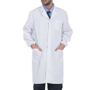 Women Scrubs White Lab Coat  Nurse Doctor Uniform Lapel Neck Long Sleeve