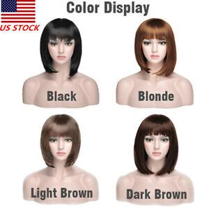 35cm-Women-Bob-Wig-Women-039-s-Short-Straight-Bangs-Full-Hair-Wigs-Cosplay-Party-USA