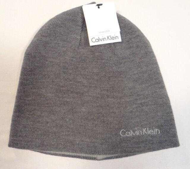 Buy Mens Calvin Klein Logo Reversible Acrylic Beanie Skull Hat Ski ... 38729051e77