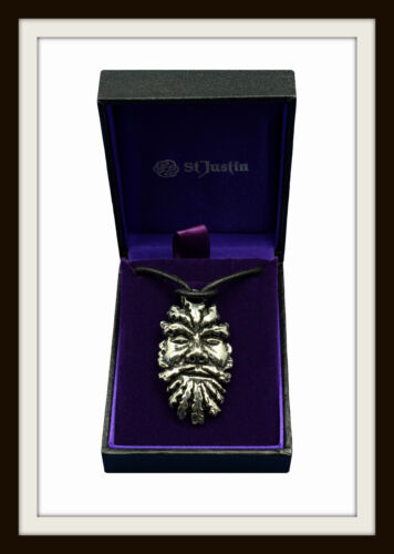 GREENMAN ~ GREEN MAN PEWTER PENDANT ON LEATHER THONG ~ FROM ST JUSTIN ~ FREE P/&P