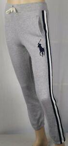 Polo Ralph Lauren Youth Grey Fleece Sweatpants Big Navy Blue Pony NWT