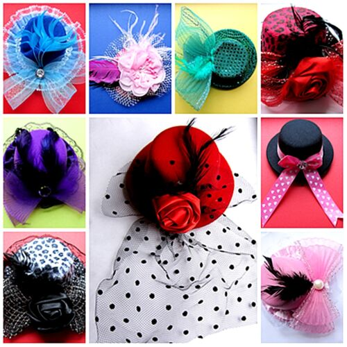 MINIHUT Mini Hut Gothic Burlesque Schleier Hüte Versch Muster und Farben Feder
