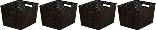 4x Curver Nestable Rattan Basket Large Storage Plastic Wicker Tray 18L Brown