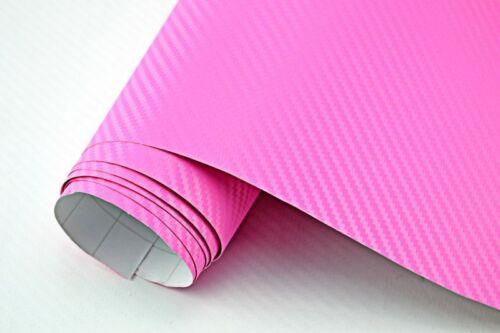11,5€//m² 3D Carbon Folie pink rosa blasenfrei 50 x 152cm Klebefolie Carbon