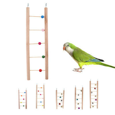 Birds Climb Playing Toy With Mirror Wooden Swing Hanging Parrot Cockatiel Toys