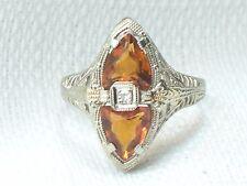 Estate Antique14K White Gold Fire Opal & Diamond Filigree Ring