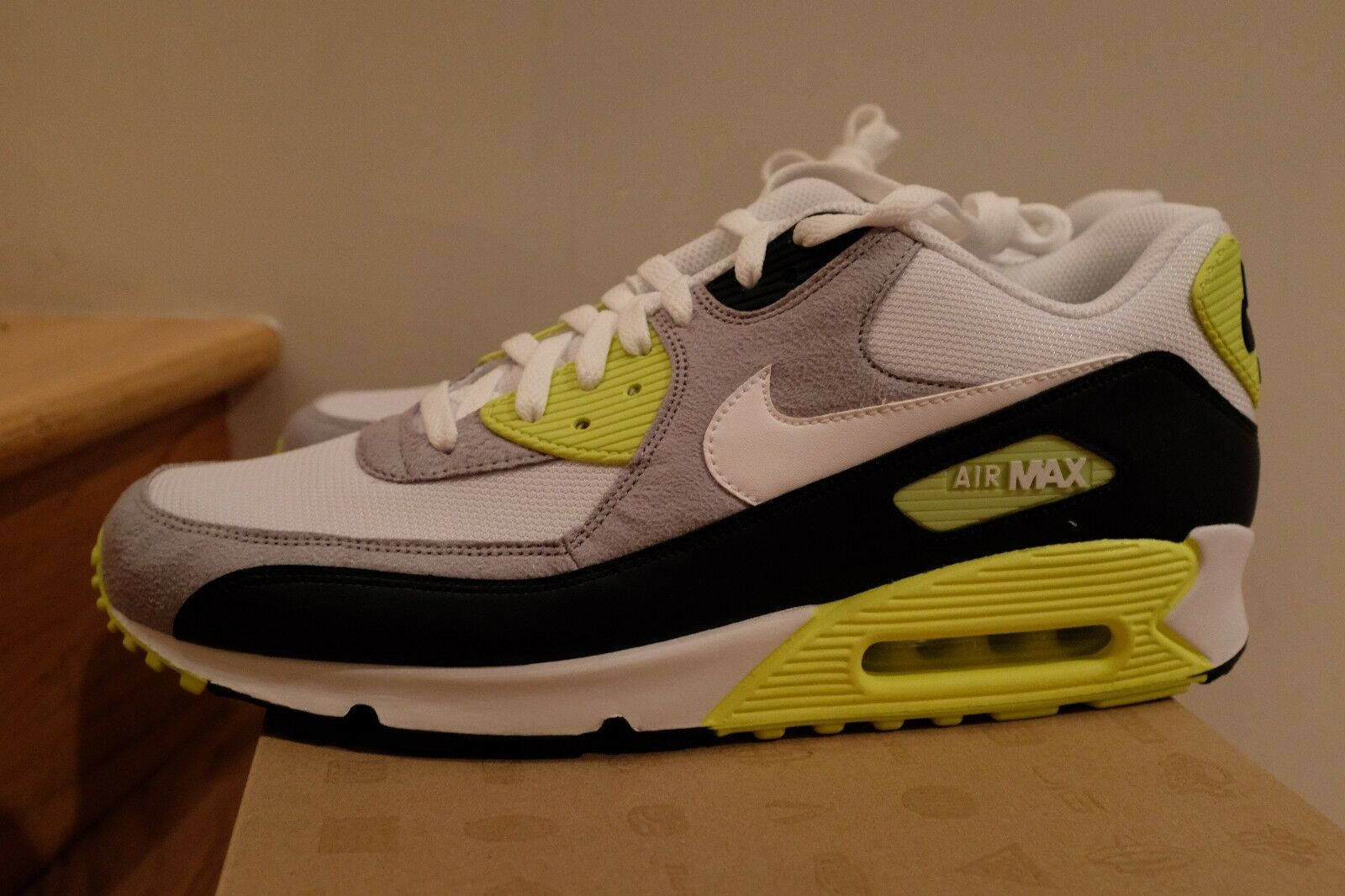 2011 Nike Air Max 90 Volt White Black Grey size 13