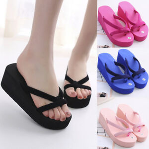 Details about Fashion Women's Summer Slipper Flip Flops Beach Wedge Thick Sole Heeled Shoes US