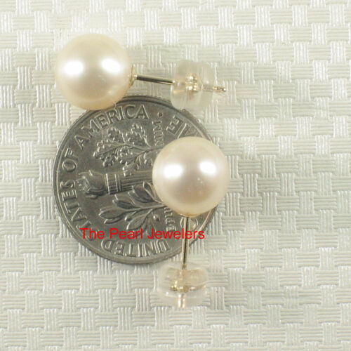 TPJ 14k Yellow Gold AAA 8-8.5mm White High Luster Cultured Pearl Stud Earrings