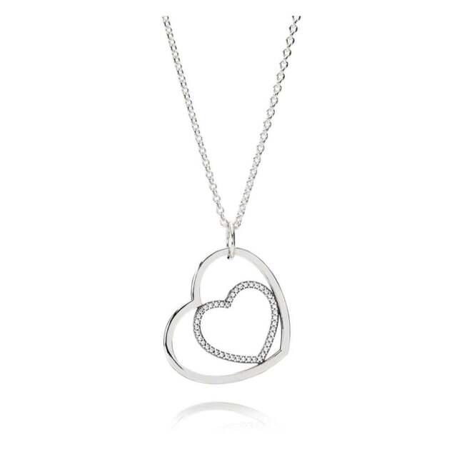 0334a7e64 Authentic PANDORA Heart to Heart Pendant Necklace Clear CZ 390364cz ...