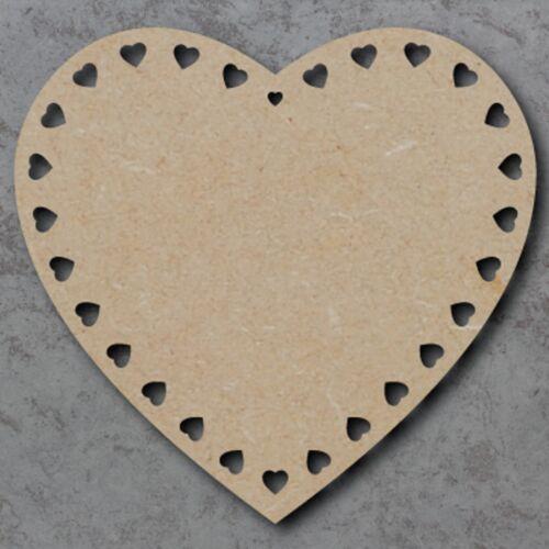 Corazón De Madera Mdf De 25cm grande con corazones de forma artesanal en Blanco Mini Placa Sin Pintar