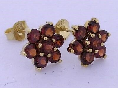 Classic Genuine 9ct Gold NATURAL Garnet Large Blossom Cluster Stud Earrings