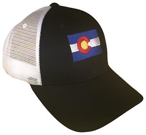 ee5cd64eb092f Black   White Colorado CO State Flag Mesh Golf Trucker Cap Caps Hat ...