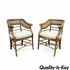 Pair of Vtg Faux Bamboo Hollywood Regency Chinese Chippendale Cane Arm Chairs