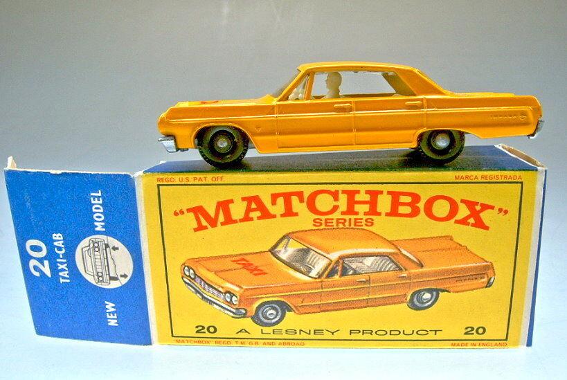 Matchbox RW 20C Chevrolet Taxi Orangegelb rare silberne Bodenplatte in  E  Box