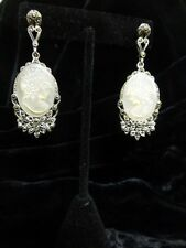 New Old Stock M.O.P. Carved Cameo Set In Sterling Silver With Marcasite Earrings