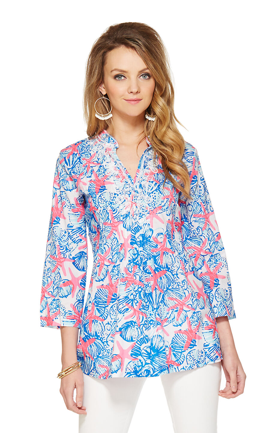 Nuevo Lilly Pulitzer Sarasota Túnica Resort whiteo She She Conchas Top