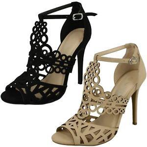 Damenschuhe Pumps Gelernt Ladies Anne Michelle Cut Out Detail Open Toe 'heels' Ausgezeichnet Im Kisseneffekt
