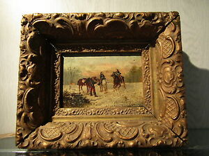 old-oil-painting-1850-panel-cavalerie-french-flemisch-soldiers-napoleon-troops
