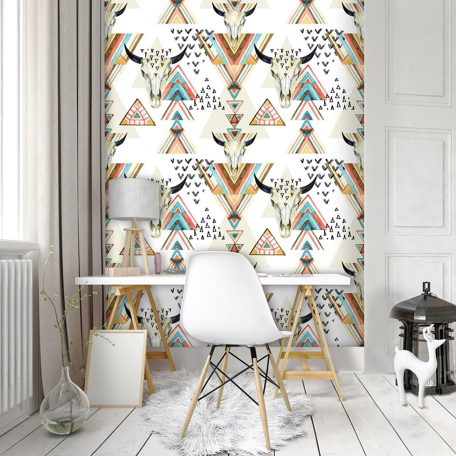 Photo Wallpaper Mural Non-woven 10727_VEA Skulls and Triangles abstract geometry