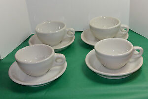 4 VINTAGE UNUSED 1950s BUFFALO CHINA HEAVY DUTY RESTAURANT COFFEE CUPS & SAUCERS