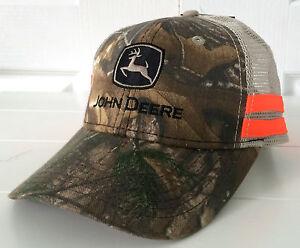9842ac324a8 John Deere Realtree Hardwoods Camo   Beige Mesh Hat Cap w Orange ...