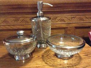 Paradigm crackle glass bathroom set lotion soap pump dish for Crackle glass bathroom set