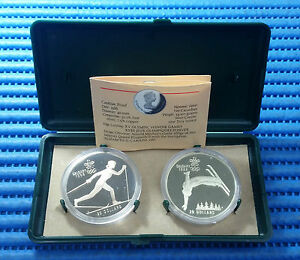 2X-1988-Canada-20-Calgary-Winter-Olympic-Games-Commemorative-Silver-Proof-Coin