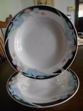 "Caravel two (2) Berry Dessert Rimmed Bowls 6"" Porcelain Excel White Black Blue !"