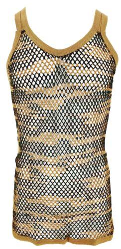 Men's Camo String Mesh Vest 100/% Cotton Camouflage Fish Net Fitted String Vest