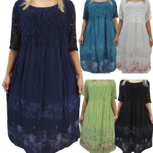 new arrival dc452 8f9a7 Details zu Tolles Damen Kleid Größe 46 48 50 52 54 Kleider Übergröße  Bumenmuster Spitze