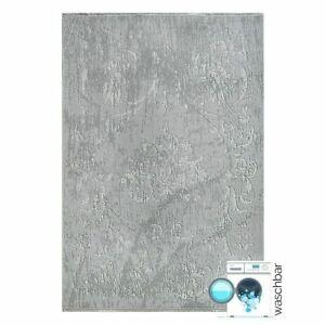 waschbarer teppich grau f r wohnzimmer modern mit l ufer f r k che geeignet ebay