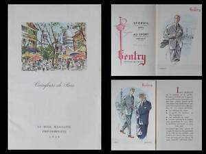 Utile Brochure Gentry, Carrefours De Paris -1956 - Mode Masculine, Costume