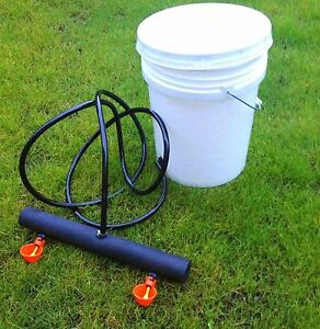 Chicken-Watering-Bucket-System-5-gallon-drinker-cups-poultry-coop-water-Farm