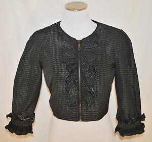 CHIC-Black-Polka-Dot-Cropped-Zipper-Front-Ruffle-Bolero-Shrug-Jacket-Blazer-M