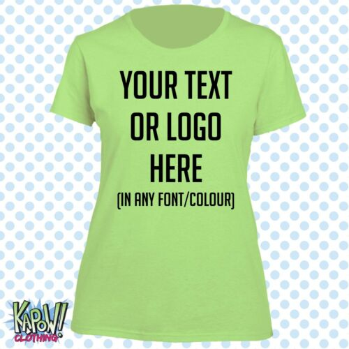 Custom Personalised Womens//Ladies Printed T-SHIRT Hen Party Gift-Your text//logo4