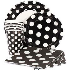 Black with Polka Dot Plates Napkins Cups Mickey Birthday Decoration Party Supply