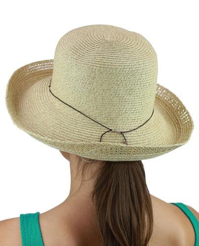 C.C Women/'s Paper Woven Beaded Slim Trim Summer Beach Bucket CC Sun Hat NEW