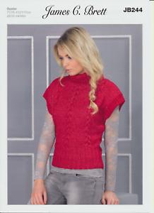 Ostra Aran Tejer patrón para mujer de cuello de Superdry de punto acanalado Sweater jb244