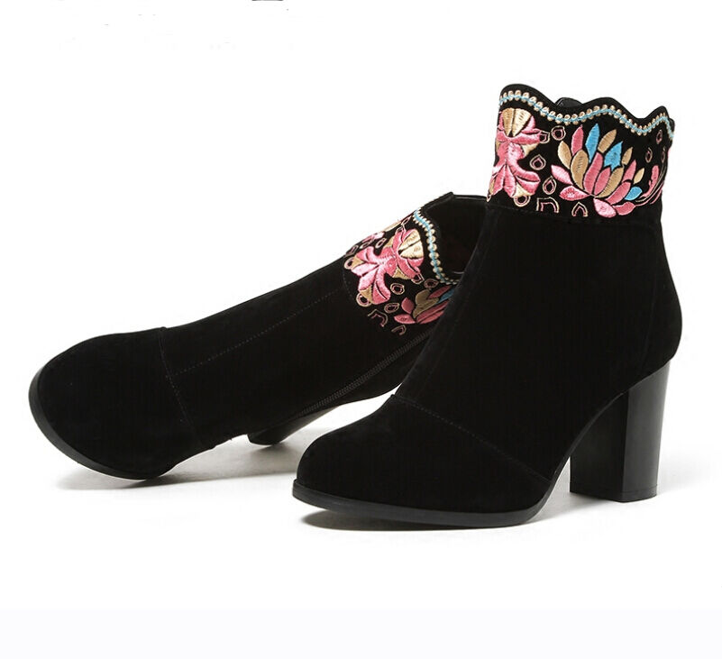 Chinese Style Womens Embroidered Flowers Chunky Heel Ankle Boots Shoes Winter J1