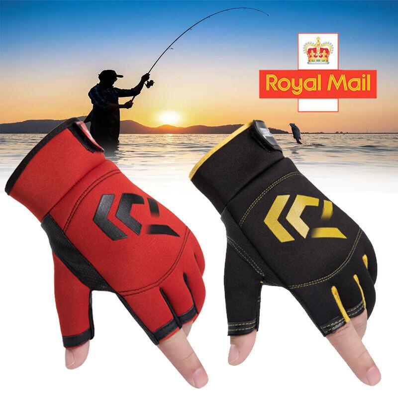 1 Pair Fishing Gloves 3 Cut Fingers Waterproof Anti-Slip Outdoor Sports Mittens