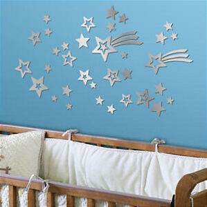 Image Is Loading Shooting Stars Mirrored Wall Stickers 35 Mirror Decals