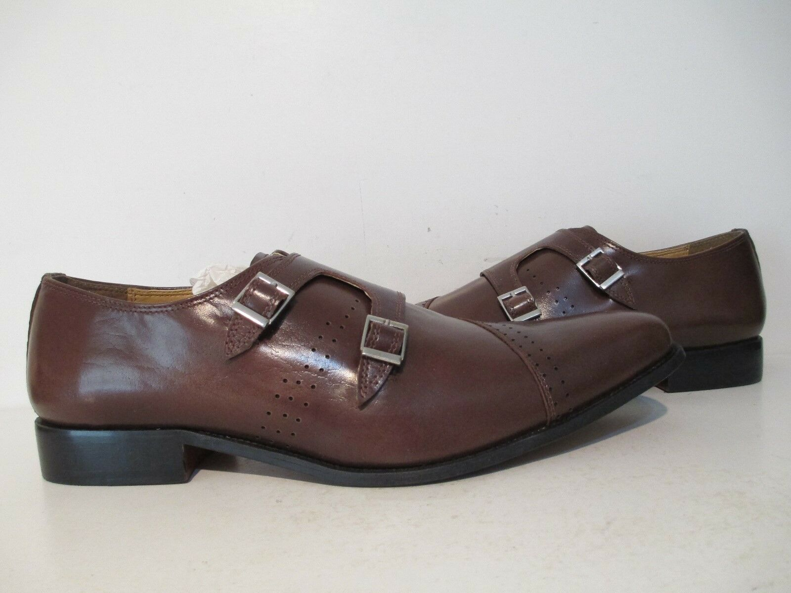 Giorgio Brutini Mens Carbonne Leather Double Monk Monk Monk Loafer Dress schuhe braun 13 M 0d8fa7