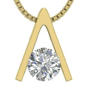Solitaire-Pendant-Necklace-Natural-Round-Cut-Diamond-I1-G-0-50-Ct-Set-14K-Gold