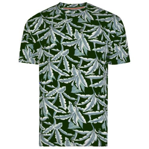 Da Uomo T-shirt a maniche corte da KAM JEANS Floreale Tee Navy Cachi Taglie 2XL-8XL