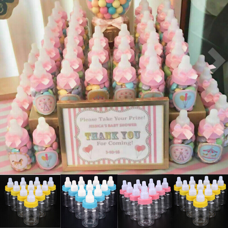 24x Shower Fillable Bottles Candy Box Kids Clear Party Holder For Girl Boy Baby