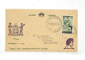 EE196 1948 Fiji Suva New Zealand Commemorative FDC Silver Jubilee Cover PTS