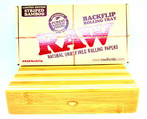 "Raw Backflip Striped Bamboo Magnetic Rolling Tray 4'""  X  8 1/2"" Limited Edition"