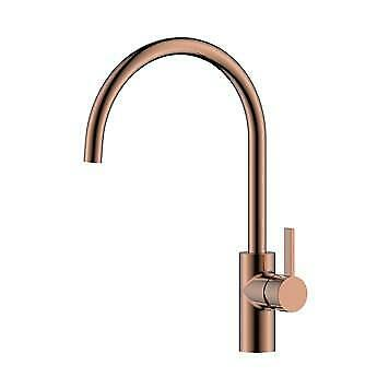 Brushed Copper Dual Lever Kitchen Tap Swan Neck Tap with Swivel Spout